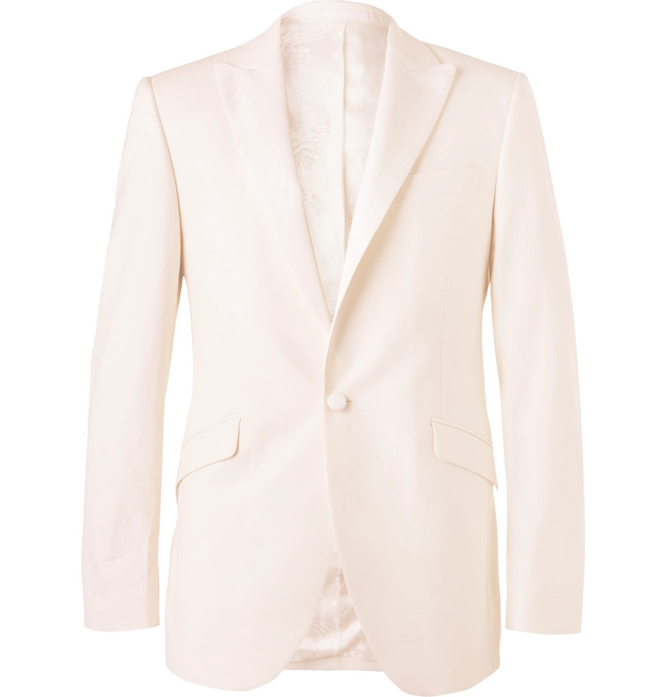Ivory Theobald Slim-fit Faille-trimmed Herringbone Cotton Tuxedo Jacket - Ivory