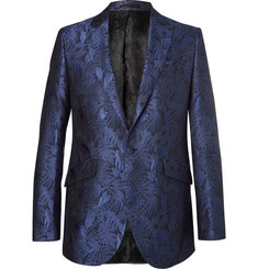 Favourbrook Navy Newport Slim-Fit Cotton and Silk-Blend Brocade Tuxedo Jacket