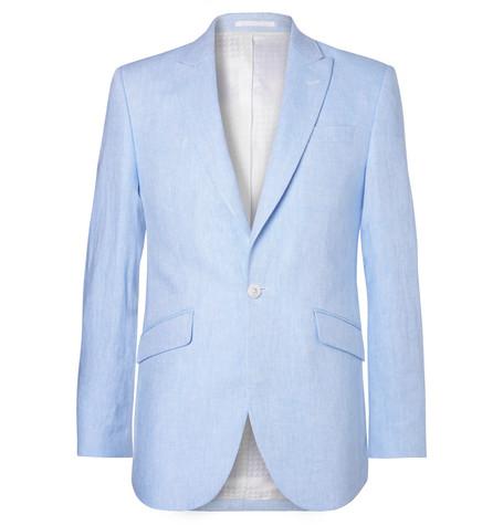 FAVOURBROOK Sky-Blue Evering Newport Linen Suit Jacket - Light Blue