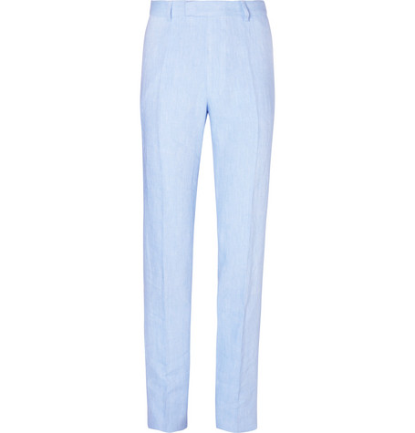 FAVOURBROOK Sky-Blue Evering Windsor Linen Suit Trousers
