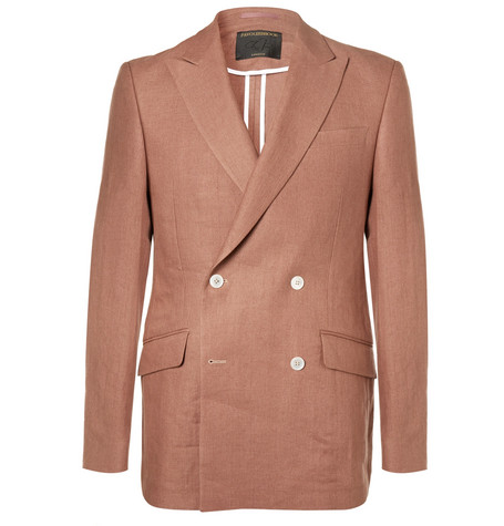 FAVOURBROOK Terracotta Evering Orion Slim-Fit Double-Breasted Linen Tuxedo Jacket - Pink