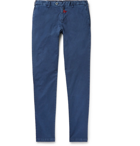 Slim-fit Stretch-cotton Chinos - BlueIsaia