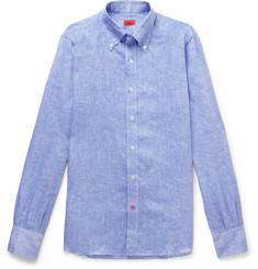 Isaia Button-Down Collar Mélange Linen Shirt