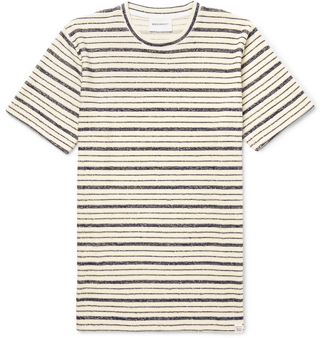Norse projects Niels Textured Striped Cotton-blend Jersey T-shirt - Cream