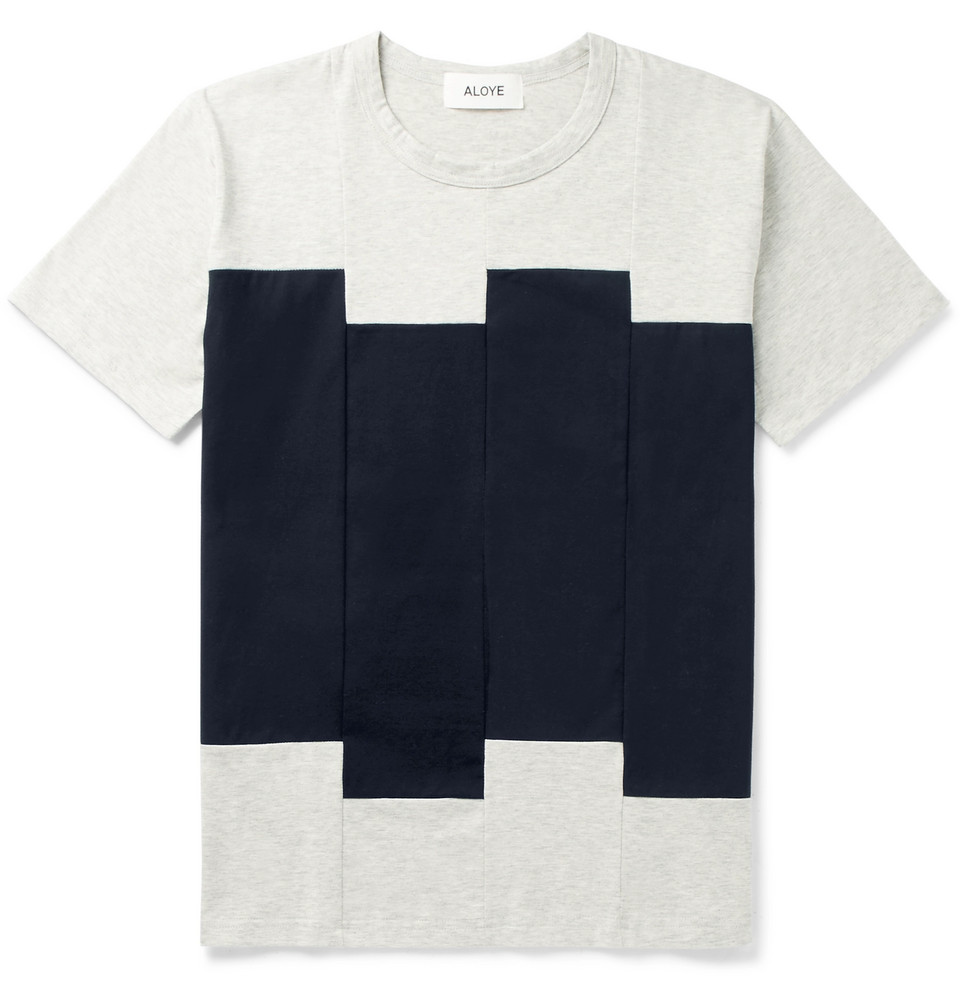 Slim-fit Panelled Cotton-jersey T-shirt - Gray