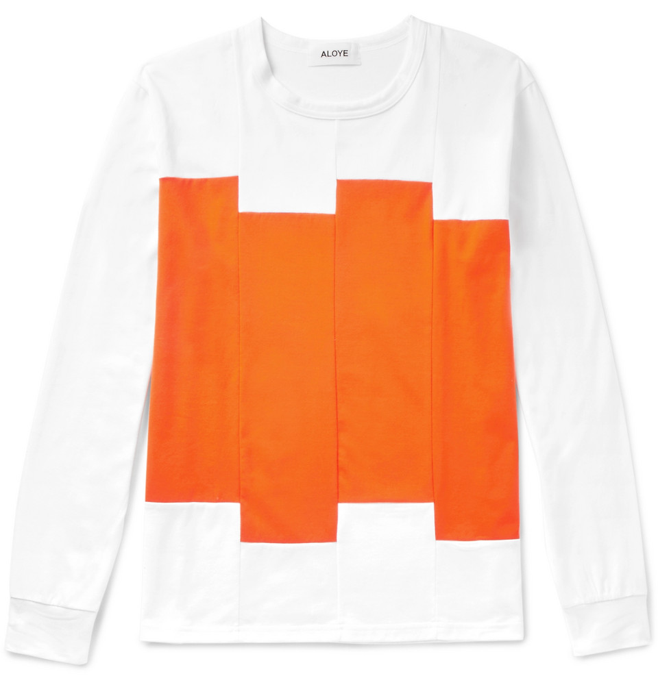 Panelled Cotton-jersey T-shirt - White