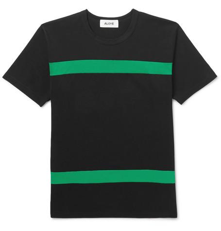 ALOYE Slim-Fit Striped Cotton-Jersey T-Shirt in Black