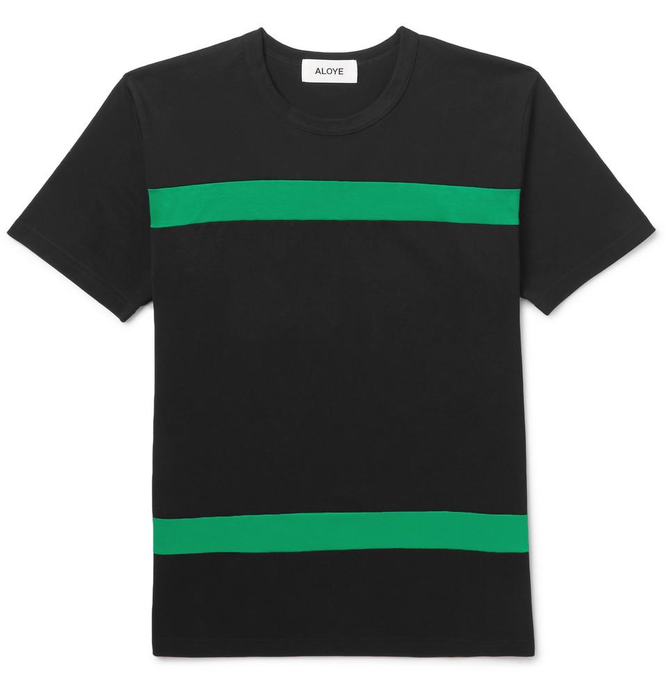 Slim-fit Striped Cotton-jersey T-shirt - Black
