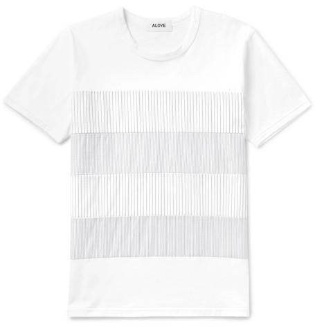 ALOYE Slim-Fit Striped Poplin-Panelled Cotton-Jersey T-Shirt - White