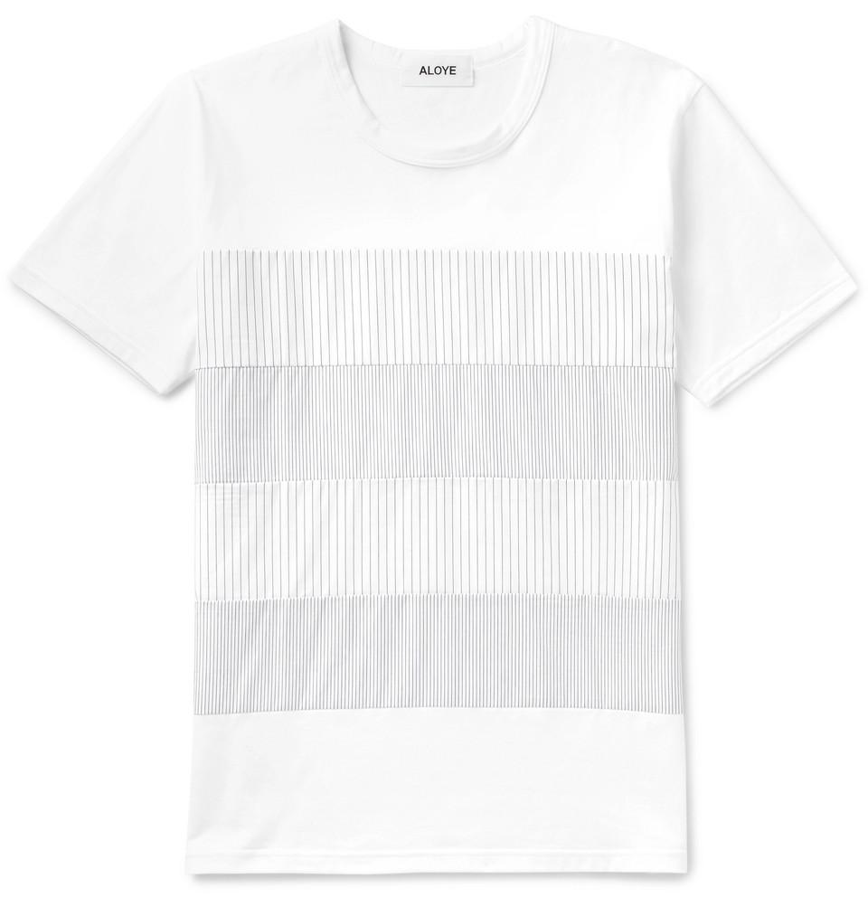 Slim-fit Striped Poplin-panelled Cotton-jersey T-shirt - White
