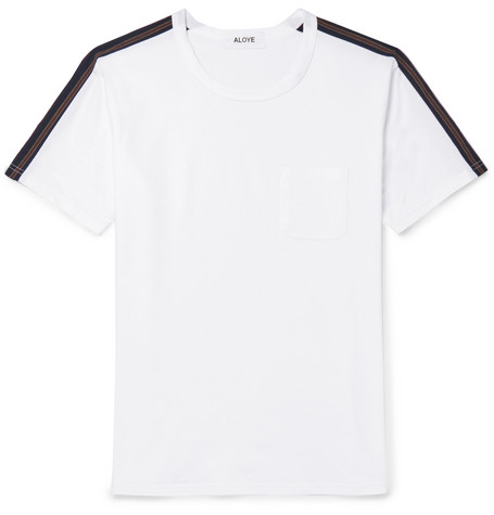 ALOYE Slim-Fit Stripe-Trimmed Cotton-Jersey T-Shirt - White