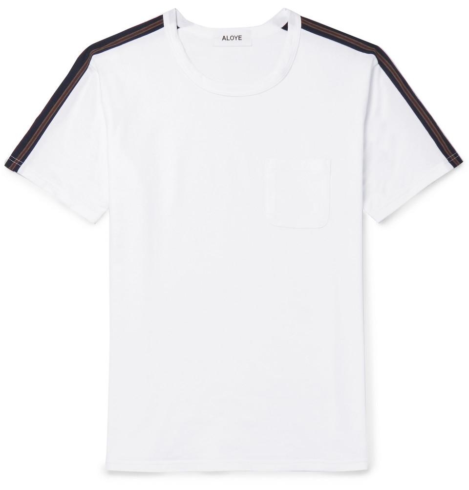 Slim-fit Stripe-trimmed Cotton-jersey T-shirt - White