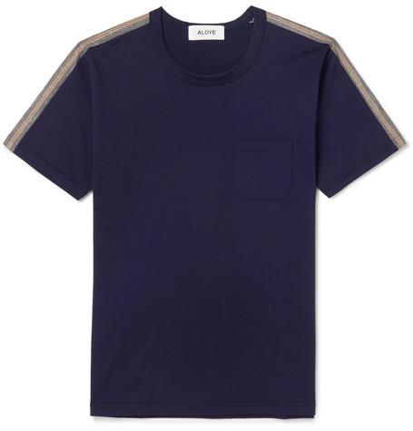 ALOYE Slim-Fit Stripe-Trimmed Cotton-Jersey T-Shirt in Navy