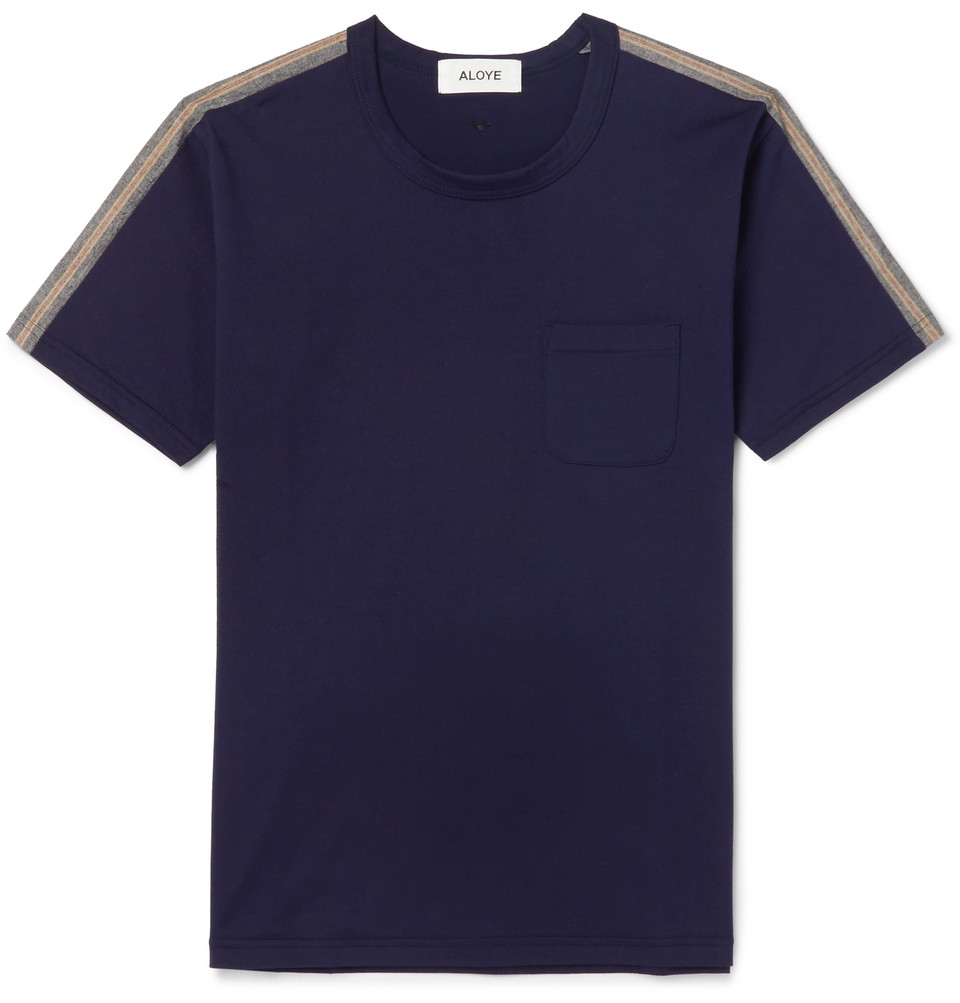 Slim-fit Stripe-trimmed Cotton-jersey T-shirt - Navy