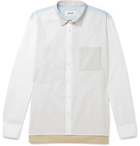 ALOYE Colour-Block Cotton-Poplin Shirt - White