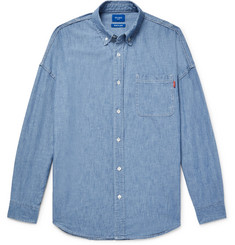 Beams Button-Down Collar Indigo-Dyed Cotton-Chambray Shirt
