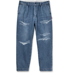 Beams - Cropped Distressed Denim Jeans