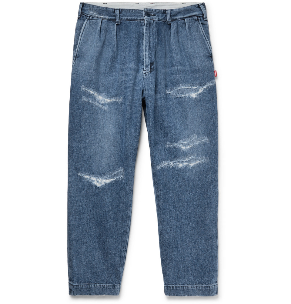 Cropped Distressed Denim Jeans - Indigo