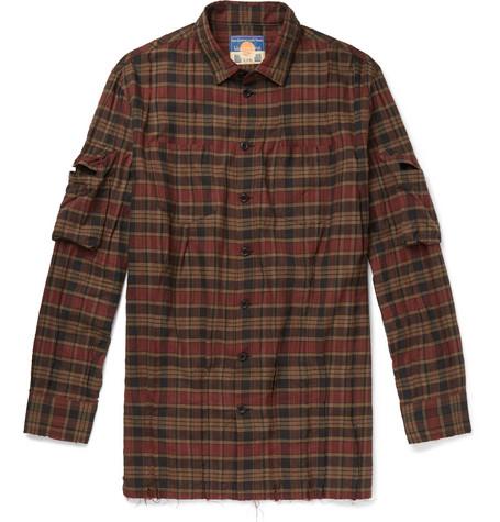 BLACKMEANS Distressed Checked Cotton Shirt