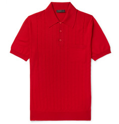 Prada - Slim-Fit Laser-Cut Virgin Wool Polo Shirt