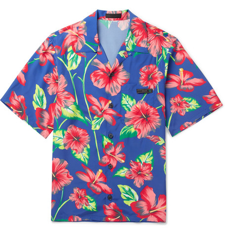Camp Collar Printed Voile Shirt by Prada