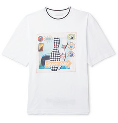Prada - Contrast-Tipped Printed Cotton-Jersey T-Shirt