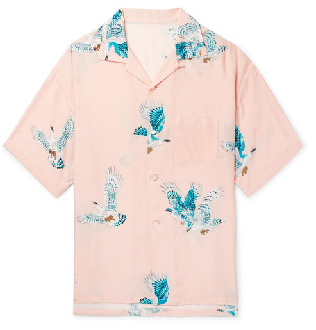 FLAGSTUFF Camp-Collar Printed Woven Shirt