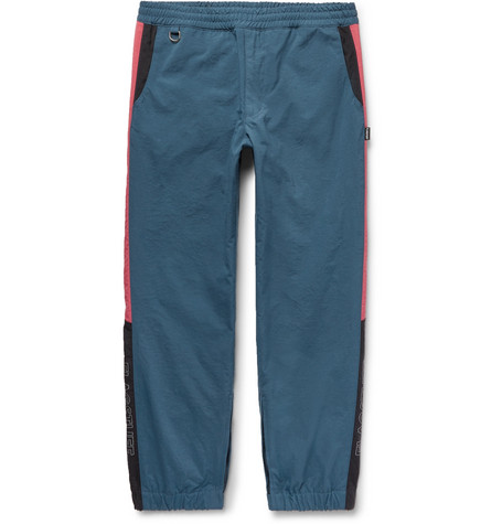 FLAGSTUFF Tapered Striped Shell Drawstring Trousers