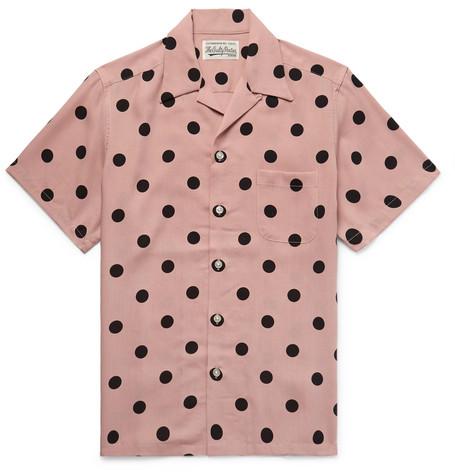 WACKO MARIA Camp-Collar Polka-Dot Lyocell Shirt