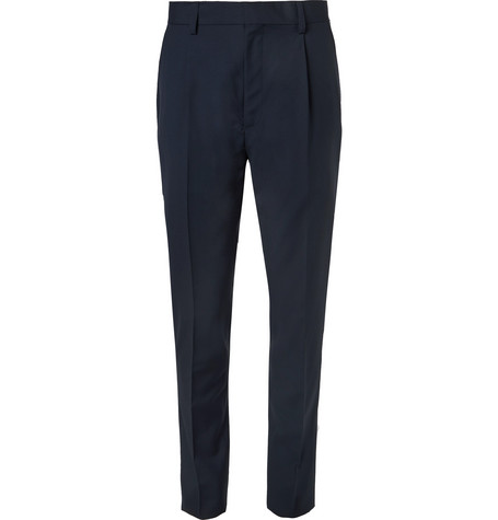 Slim Fit Pleated Wool Trousers by Wacko Maria