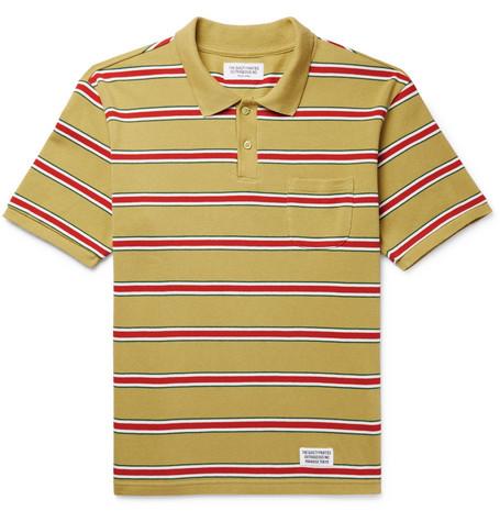 WACKO MARIA Striped Cotton-Piqué Polo Shirt