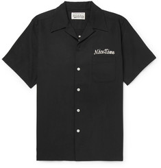 Wacko Maria Teo Camp-Collar Embroidered Tencel and Cotton-Blend Shirt
