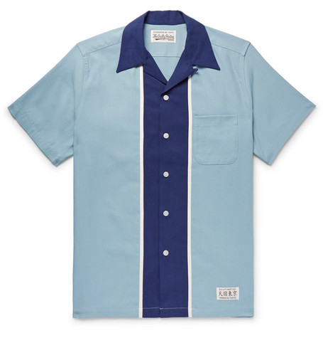 WACKO MARIA Camp-Collar Two-Tone Tencel and Cotton-Blend Twill Shirt
