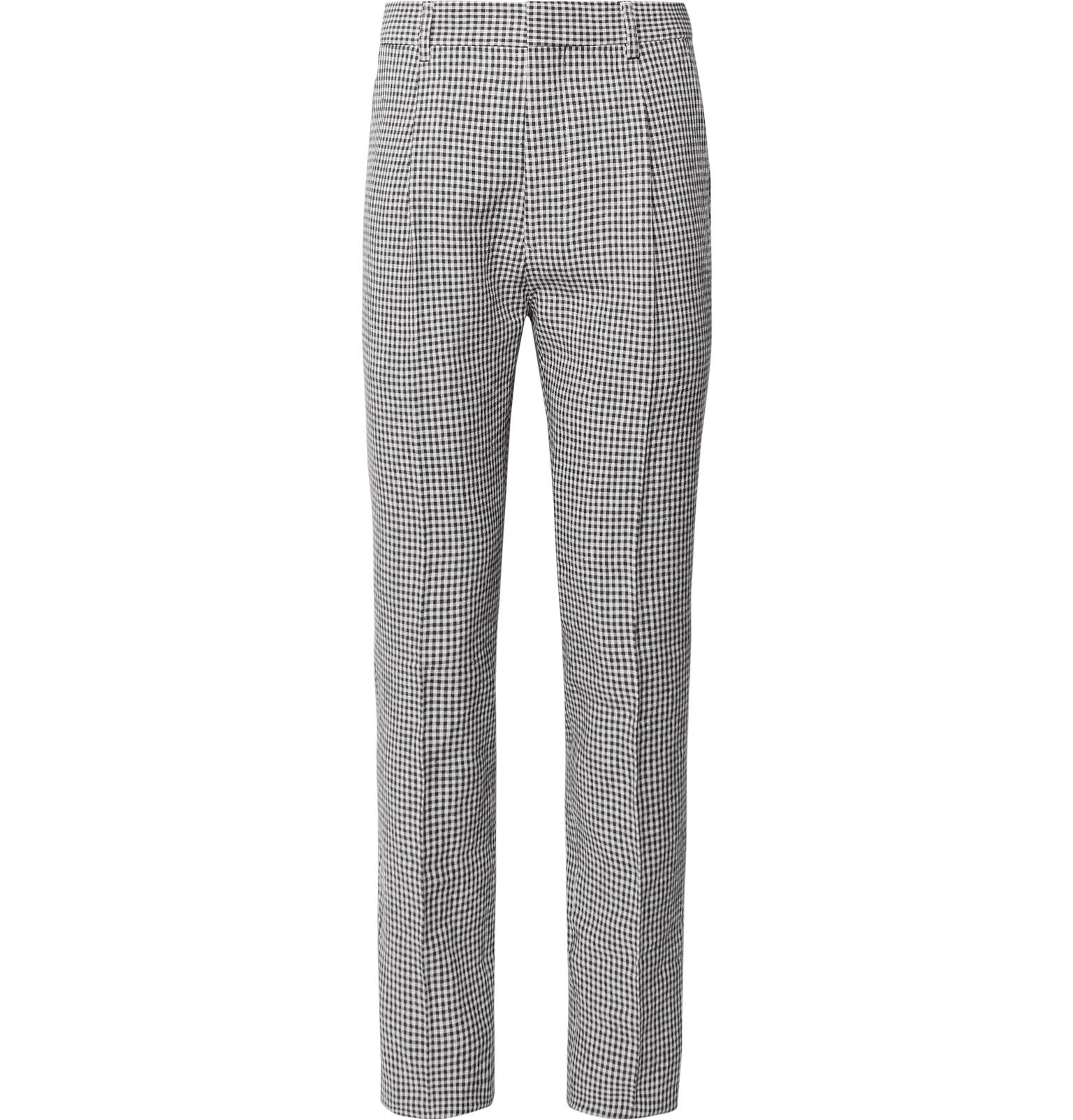 Slim-fit Pleated Gingham Linen-blend Trousers Wacko Maria S8EYNb