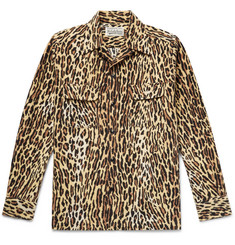 Wacko Maria Camp-Collar Leopard-Print Cotton-Flannel Shirt