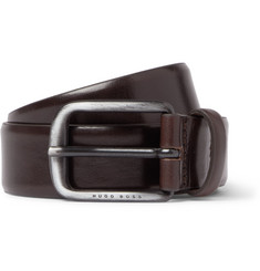 Hugo Boss 3.5cm Curt Dark-Brown Leather Belt
