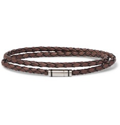 Hugo Boss Bruno Woven Leather and Silver-Tone Wrap Bracelet