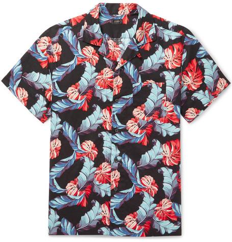 J.Crew Camp-collar Printed Linen And Cotton-blend Shirt - Black MNwicU6