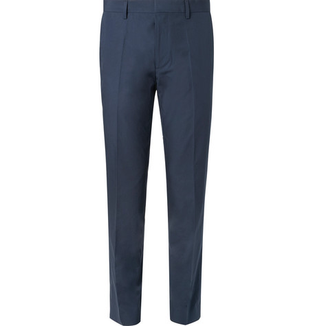 ed06fb31 Hugo Boss Navy Genesis Slim-Fit Cotton Suit Trousers | ModeSens