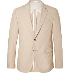 Hugo Boss Beige Nobis Slim-Fit Cotton-Poplin Suit Jacket,Beige