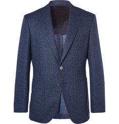 Hugo Boss Blue Janson Slim-Fit Mélange Stretch-Virgin Wool and Linen Blend Blazer