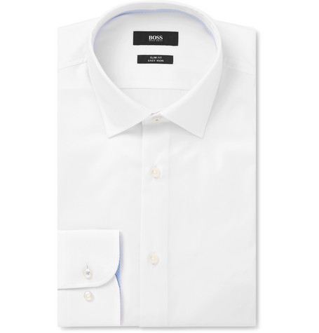 White Jesse Slim-fit Cotton-poplin Shirt
