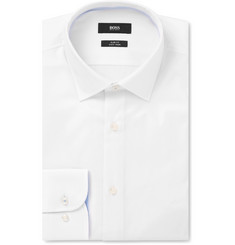 Hugo Boss - White Jesse Slim-Fit Cotton-Poplin Shirt
