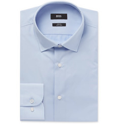 Hugo Boss - Light-Blue Jesse Slim-Fit Cotton-Poplin Shirt