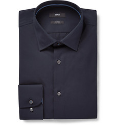 Hugo Boss - Midnight-Blue Jesse Slim-Fit Cotton-Poplin Shirt