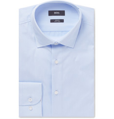 Hugo Boss - Light-Blue Jesse Slim-Fit Striped Cotton-Poplin Shirt