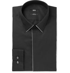 Hugo Boss Black Ivan Slim-Fit Piped Cotton-Poplin Shirt