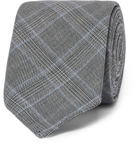 6cm Prince Of Wales Checked Virgin Wool Tie