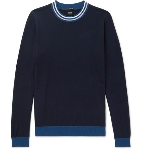 talvino-slim-fit-stripe-trimmed-cotton-sweater by hugo-boss
