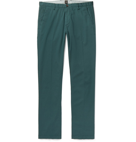 47d20b5f Hugo Boss Slim-Fit Stretch-Cotton Twill Trousers - Petrol | ModeSens